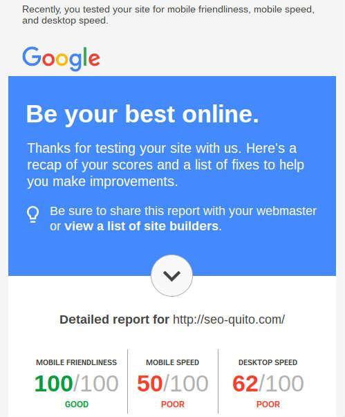 Herramienta para Pymes. Google recomienda avisar al webmaster de tu sitio para solucionar los problemas.