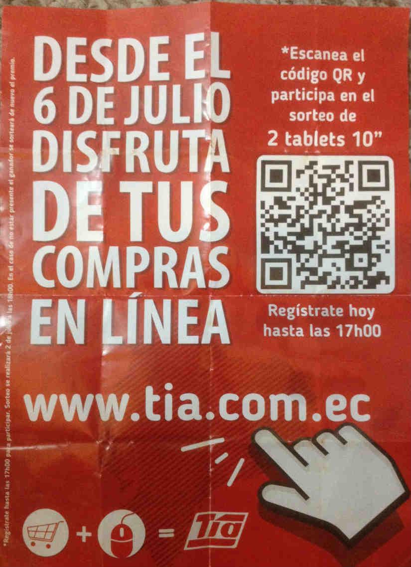 Volante de la cadena de supermercados Tía con información sobre su tienda online.