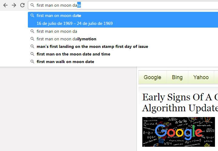 Búsqueda a través de la barra de direcciones de Google Chrome. Chrome me da la respuesta.