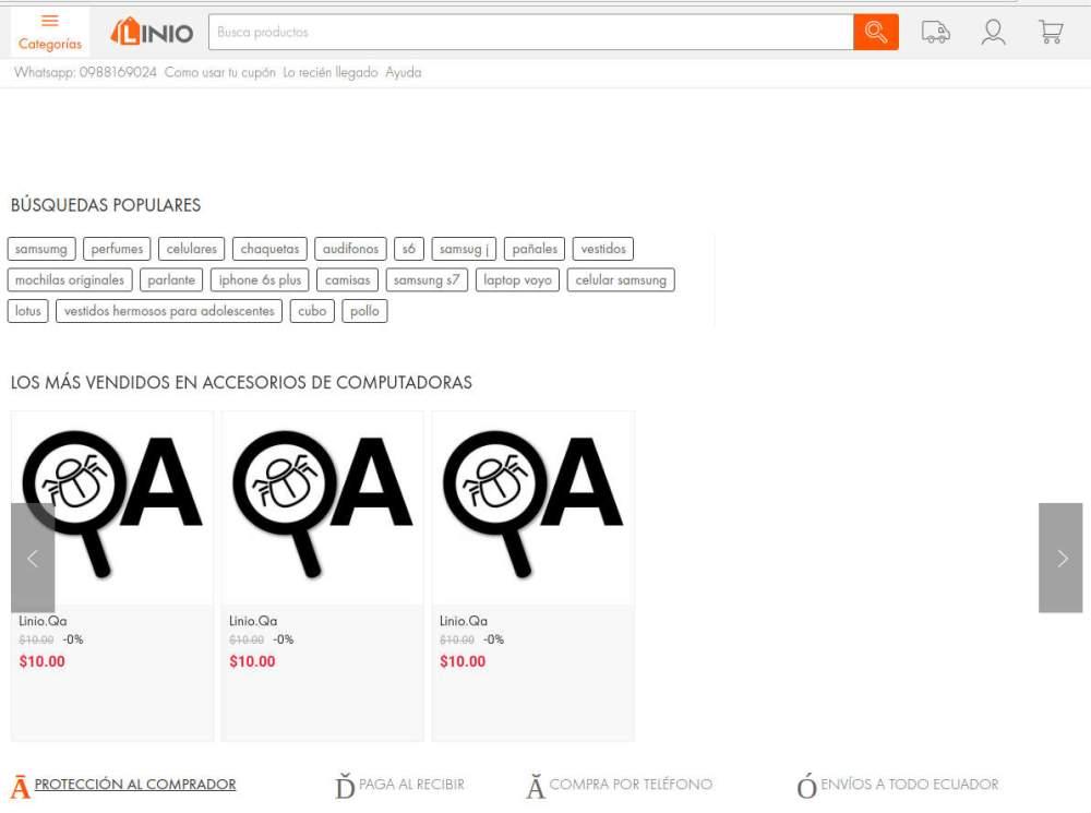 Sitio web de Linio