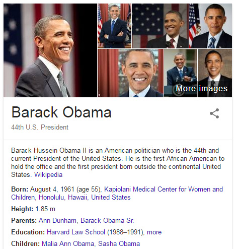 Obama en el Knowledge Graph.