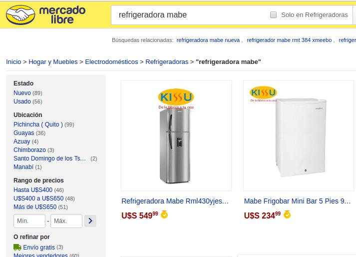 Kissu vende productos en MercadoLibre.