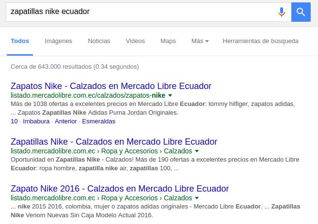 Resultados de búsqueda en Google Ecuador: muchas veces dominan marketplaces como MercadoLibre los primeros puestos.