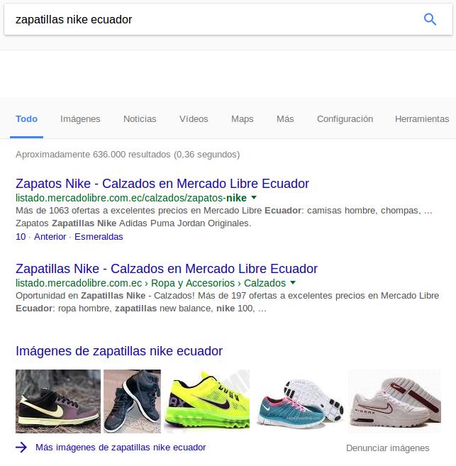 Resultados de búsqueda por zapatillas nike ecuador: MercadoLibre domina los primeros puestos en Google.