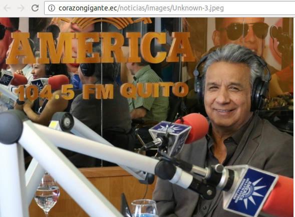 Foto en el sitio de Lenin Moreno.