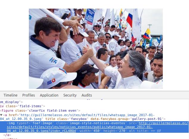 Foto en el sitio de Guillermo Lasso. Falta el texto alternativo de la foto (alt). El nombre de la foto no es bueno.