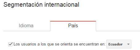 Segmentación internacional en Search Console.