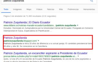 Sitio web de Patricio Zuquilanda en los resultados de búsqueda de Google.