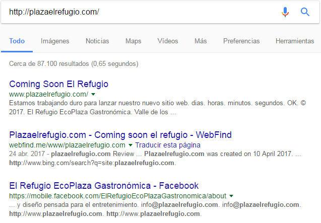 Resultados en Google por la búsqueda El Refugio.