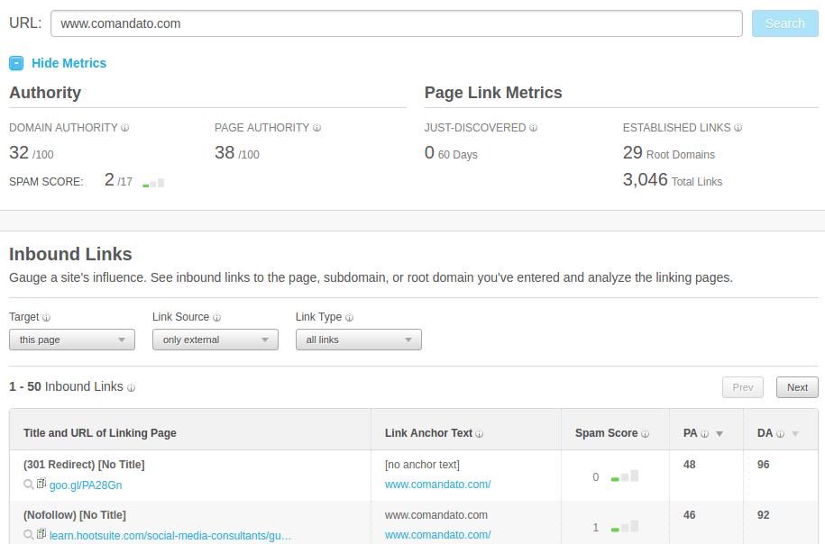 Open Site Explorer de Moz muestra la autoridad del dominio, ejemplo Comandato.