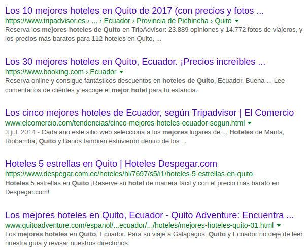 """Resultados por """"mejores hoteles en Quito""""."""