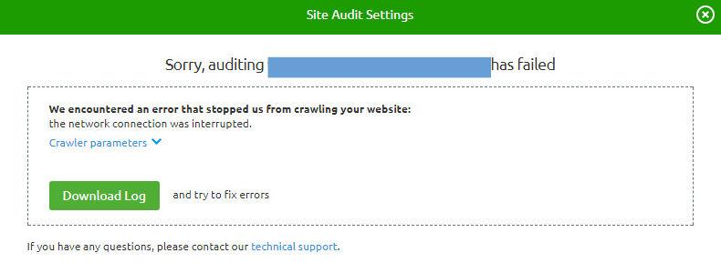 SEMRush no puede analizar un sitio web.