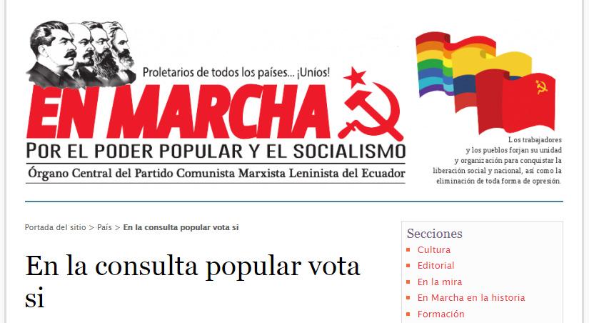 Partido Marxista Leninista sobre la consulta popular.