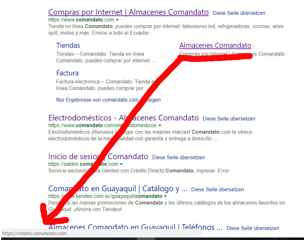 Comandato en los resultados de búsqueda de Bing.