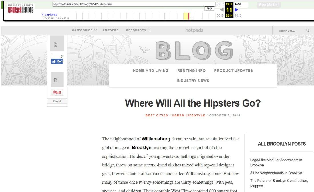 Blog de HotPads en 2014.