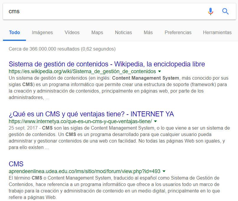 Búsqueda por CMS en Google.