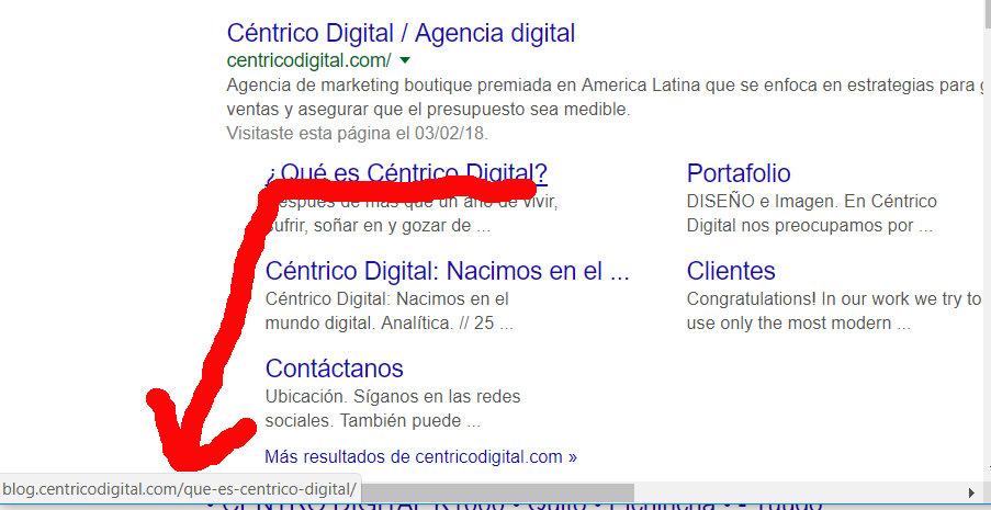 Blog de Céntrico Digital en los resultados de Google.
