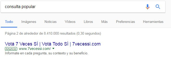 Google Adwords para la consulta popular.