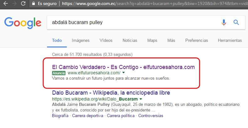 Google Adwords para Lenín Moreno duranta la campaña electoral 2017.