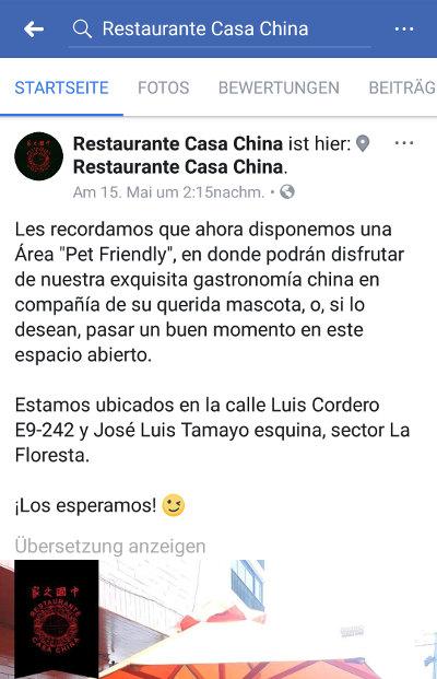 Restaurante Casa China en Facebook.