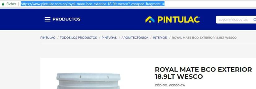 URL del producto en Bing.