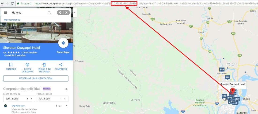 Encontrar coordenadas geográficas vía Google Maps.
