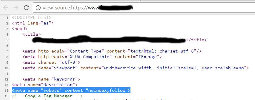 Meta robots noindex en el código fuento de una página web.
