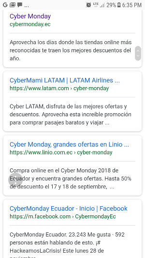 Resultados de búsqueda en Google por cybermonday ecuador.