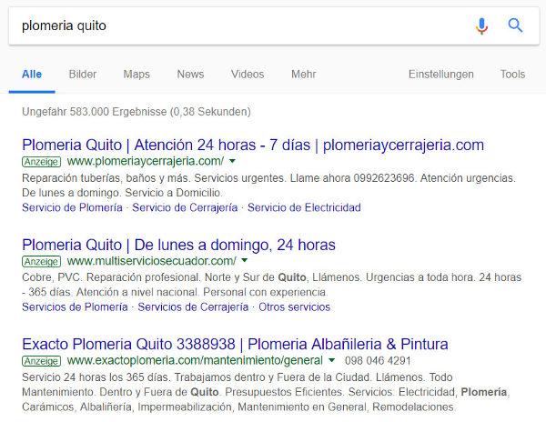 Publicidad de Google Ads para la búsqueda por plomería quito.