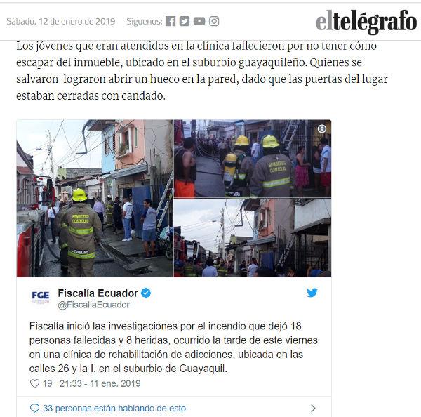 Tuit de Twitter en un artículo de El Telégrafo.