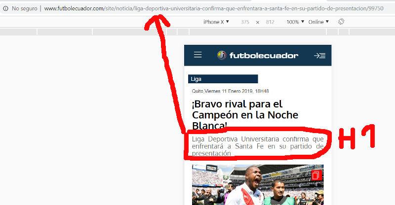 URL de una página web del sitio Fútbol Ecuador.