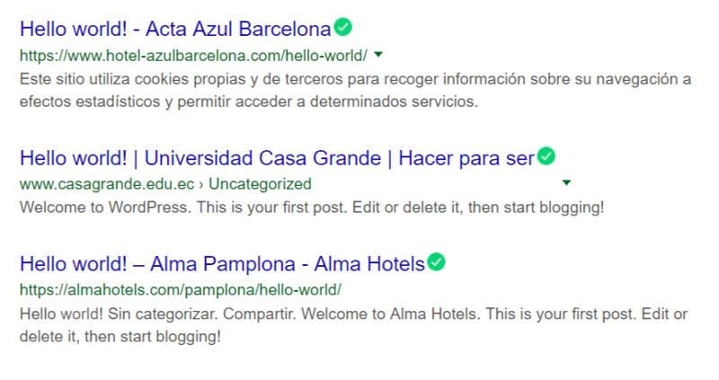 Artículo Hello World de un sitio de WordPress.