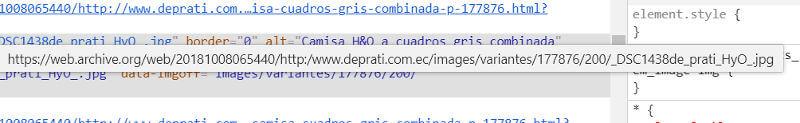 URLs de las imágenes en el sitio antiguo.