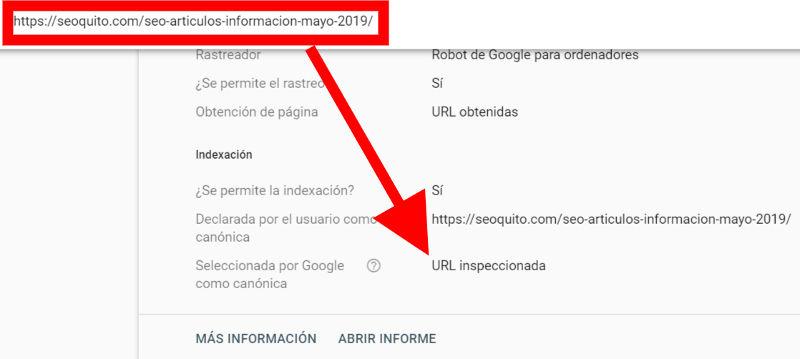 Google muestra la versión canónica en Search Console.