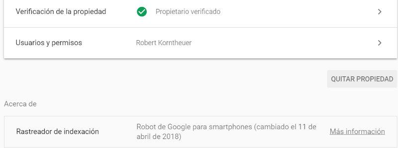 Search Console muestra la fecha cuando Google comenzó a rastrear un sitio web con su robot para móviles.