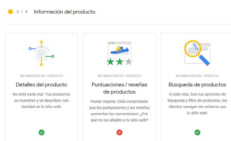 Información sobre los productos.