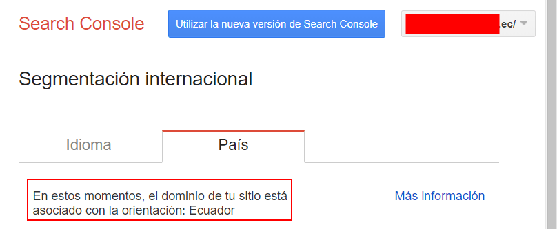 Segmentación internacional en Search Console.