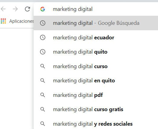 Google autocompletar.