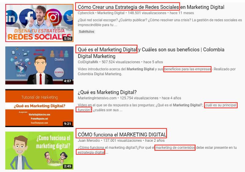 Resultados de búsqueda de Youtube.