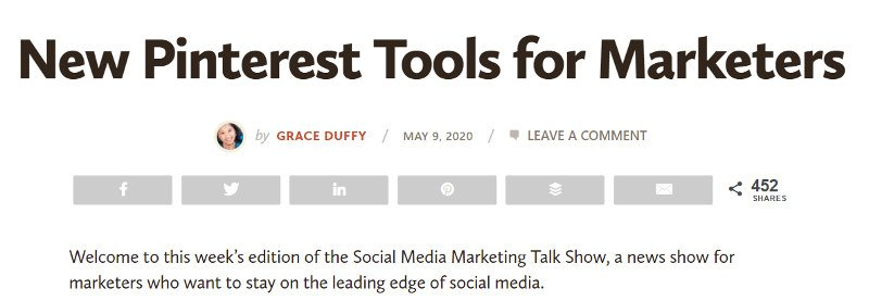 Posibilidades de compartir contenidos: Social Media Examiner.