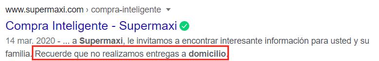 Search Snippet de Supermaxi.
