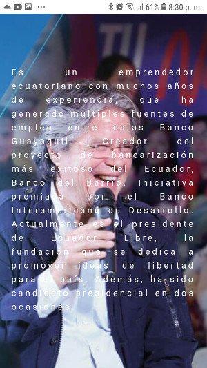 Guillermo Lasso: texto sobre imagen.