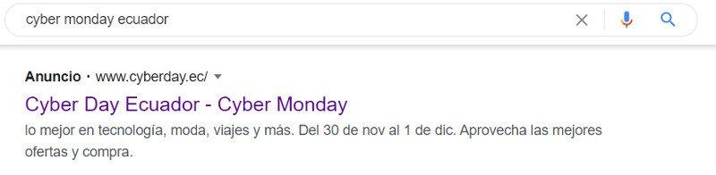 Anuncio en Google Ads de Cyberday.