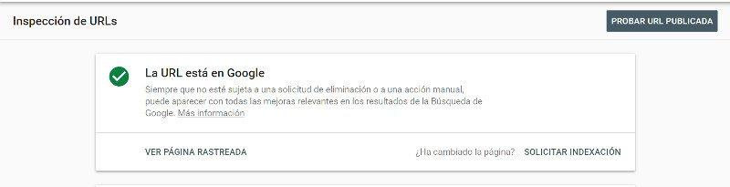 Solicitar indexación en Google.
