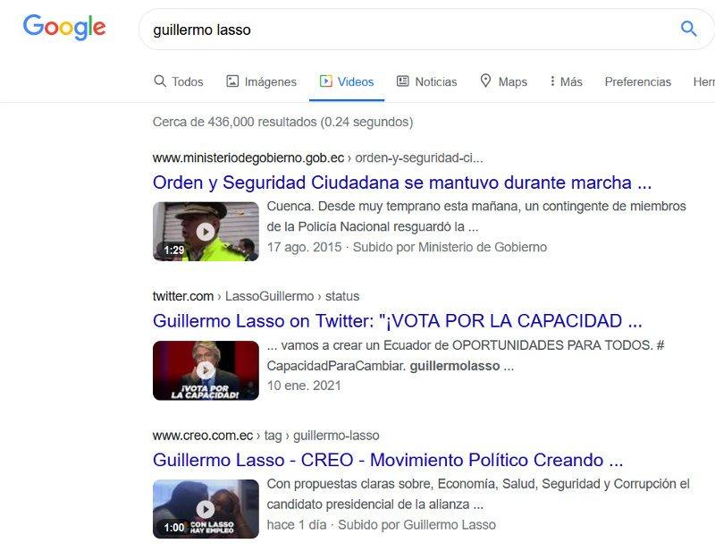 Videos sobre Guillermos Lasso en los resultados de Google.