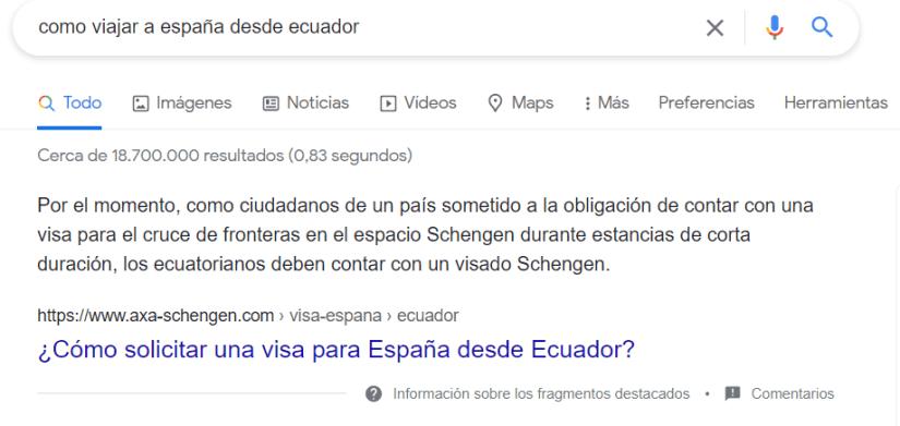 Featured Snippet en Google.
