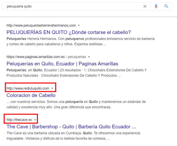 Google muestra si una página utiliza http.