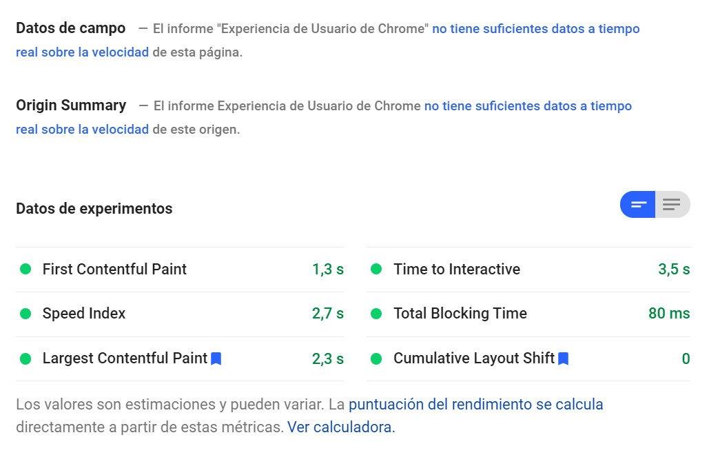 Google Page Speed Insights sirve para medir los core web vitals.