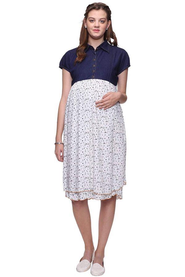 Mamma's Maternity Denim & Rayon Printed Maternity Dress