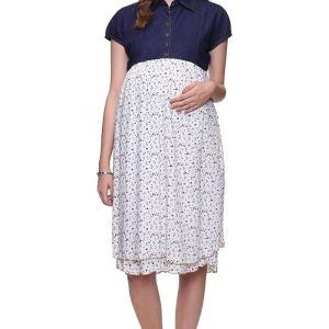 Mamma's Maternity Denim & Rayon Printed Maternity Dress